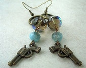 Annie Get Yer Gun Brass Earrings with Czech Glass Beads