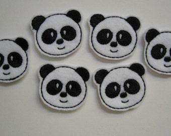White Felt Embroidered Pandas - 016