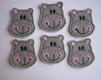 Grey Felt Embroidered Hippos Embellishments  - 070
