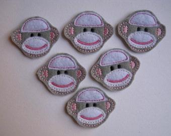 Gray Felt Machine Embroidered Sock Monkey faces