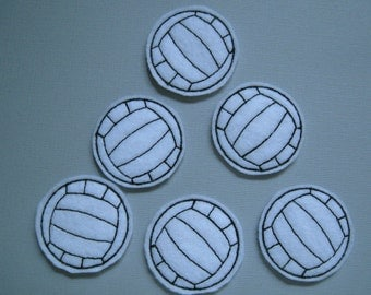 White Machine Embroidered Felt Volleyalls - 090