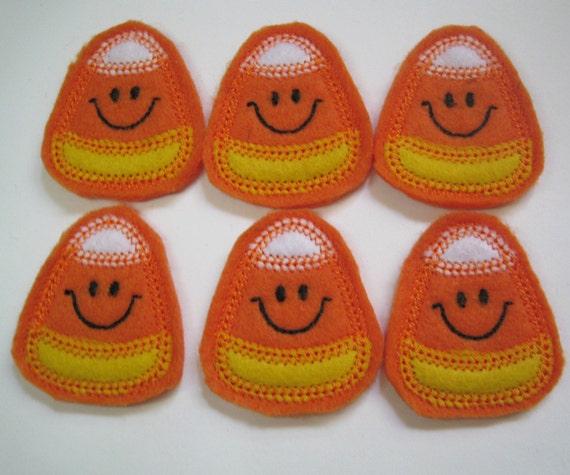 Candy Corn Felt Embroidered Halloween Embellishment