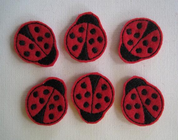 Red Felt Embroidered Ladybug Embellishments