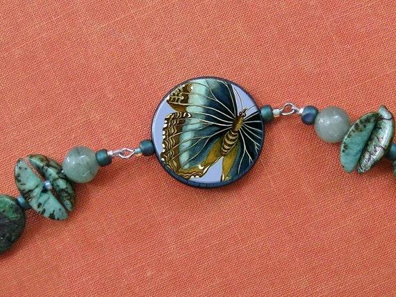 Blue Green Butterfly Flies By Bracelet