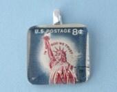 Vintage Postage Stamp Pendant - Liberty