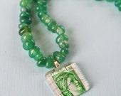 Beaded Vintage Postage Stamp Necklace - Green France