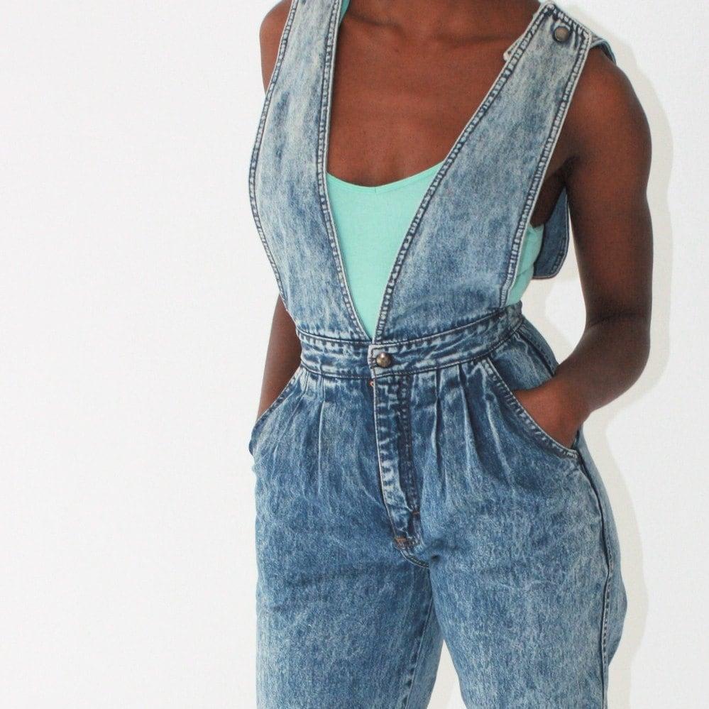 Vintage 80s High Waisted Acid Wash Suspender Jeans By