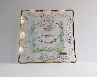 Vintage Tray, Serving Platter, Glass Tray,  Anniversary Tray,  Lefton 1984