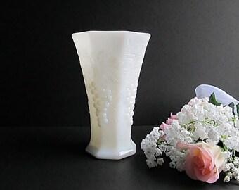 Vintage Milk Glass Vase, Flower Vase, Wedding Flower Vase, Octagon Vase, White Glass Flower Vase