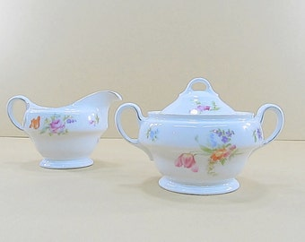 Vintage Sugar Bowl, Creamer, Floral Shabby Cottage Chic Decor, Sugar Bowl Creamer Set