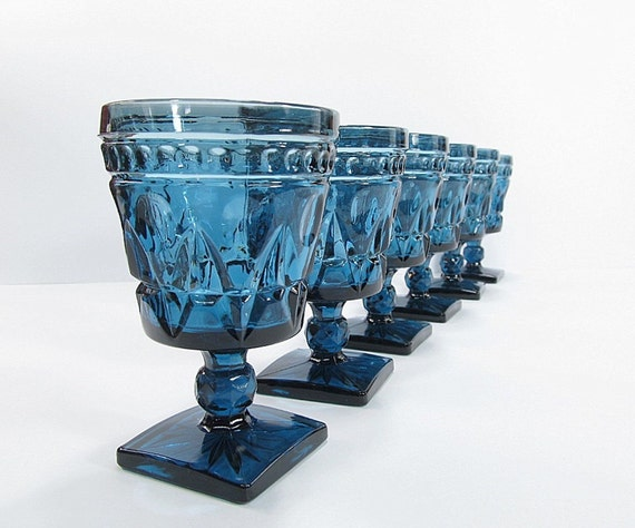 Vintage Blue Water Glasses Goblets