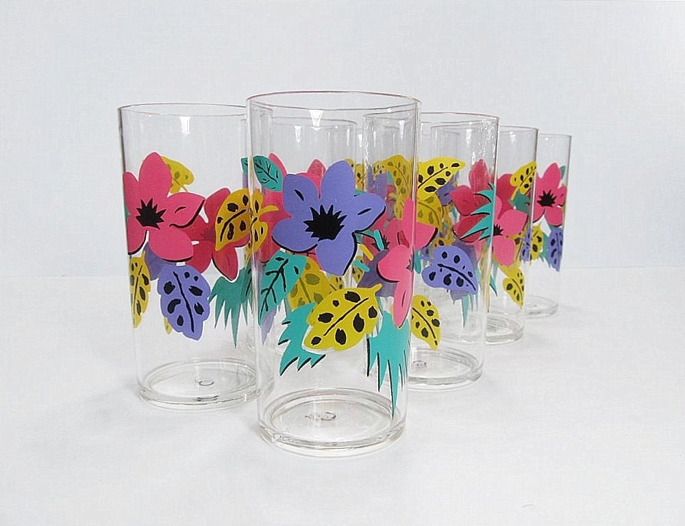 Vintage Drinking Glasses Plastic By Cubecone On Etsy