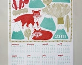 Letterpress 2011 Wall Art Calendar. Foxes, Trees, and Mountains