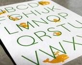 SALE Letterpress Alphabet Art Print. Modern Design. Apple/Marigold. 11 x 14