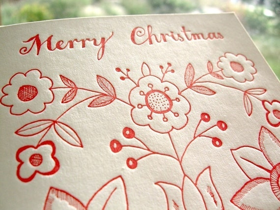 Sycamore Street Press Letterpress Holiday Cards. Set of 6. Merry Christmas