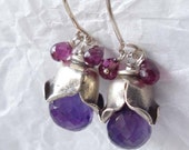 SALE Amethyst-Pink Garnet--- Flower Earrings-
