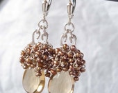 SALE---Brown sugar-------champagne quartz,pearls and sterling silver earrings---