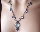 RESERVED for S............Blue ocean--Necklace---swiss blue topaz,kyanite,sterling silver necklace