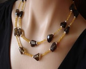 CLEARANCE--Smoky quartz Chunky Nuggets---Citrine  Necklace in Sterling silver
