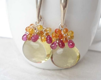 Lemon Treasure.........AA earrings.Lemon quartz,ruby,sapphires..sterling silver