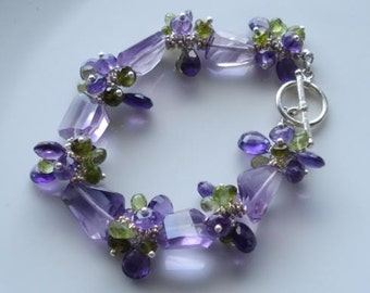 CLEARANCE        Lavender fields in provence......Bracelet..amethyst,peridot,vesuvianite sterling silver