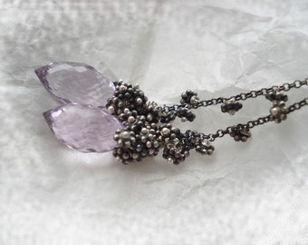 Misterious lilac earrings---pink amethyst,sterling silver,fine silver earrings--