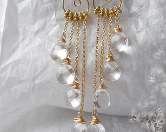 SALE--Crystal dreams, crystal quartz,14kgf earrings