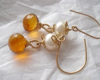 Madeira citrine earrings---everyday luxe-- citrine, pearls and 14kgf earrings