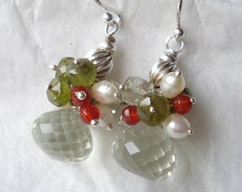 Green amethyst earrings---vesuvianite,carnelian pearls,sterling silver .....