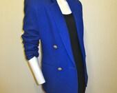 Cobalt Blue PURE WOOL Size 2 Blazer Jacket