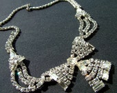 Flashy Fantastic Vintage 50's or 60's Rhinestone Bow Choker Necklace