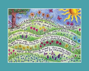art print of Bahai Prayer  for children