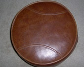 Vintage BASEBALL footstool- Vinyl Hassock with handles for lifting- great 1970's Great American Past time motif Vgc vtg