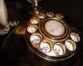 Vintage 1970's Onyx Pillowtalk Princess Phone-Brass Tone and White vgc vtg rotary dial