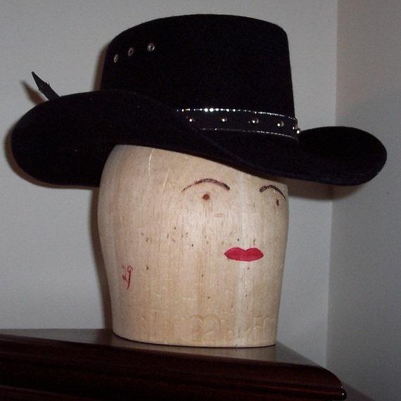 Vintage Black Ladies Cowboy Hat from Nashville tn- small medium head size Womans Womens girls BEAUTIFUL rodeo hat