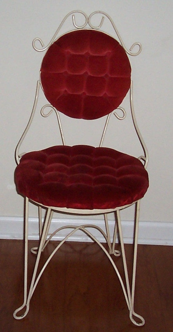 Vintage Wrought Iron Vanity Chair Red Velvet Tufted