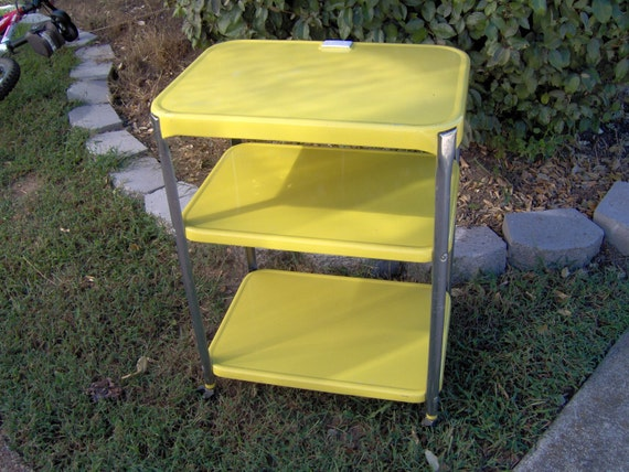 beautiful marigold yellow 1950 39 s vintage kitchen cart on wheels with