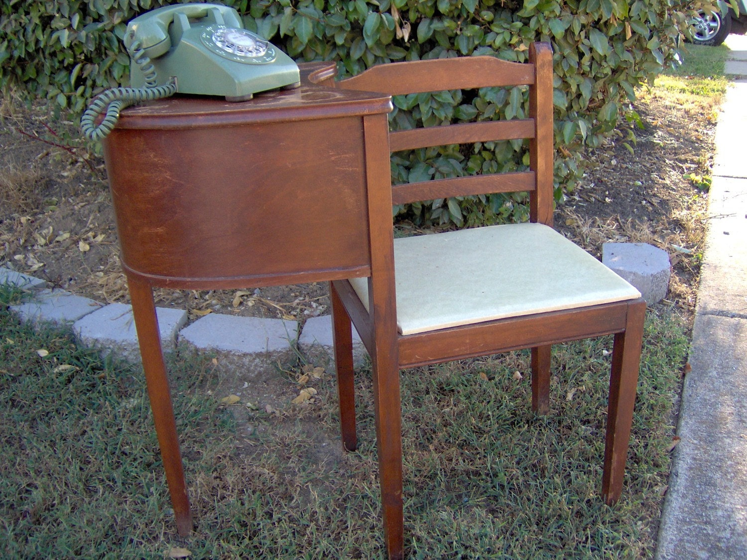 Vintage Gossip Bench Near antique telephone table RING RING - Dark Wood  Telephone Table Penncoremedia. - Antique Gossip Chair Antique Furniture