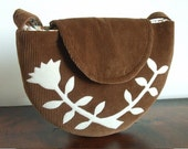 SRING SALE...The Semi-Circle Purse in Corduroy with a Bell Flower Applique