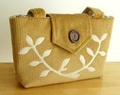 The Wayfarer Purse in Honey Mustard Corduroy with a Leafed Branch Applique