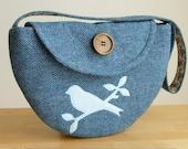 SALE Harris Tweed Bag - Semi-Circle Design with a Bird Applique - One of a Kind Purse