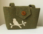 Harris Tweed Purse with a Handmade Bird Applique Wayfarer Collection