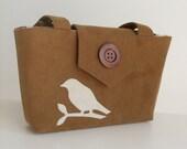 Wayfarer Purse - Bird Applique Bag - Faux Suede in Caramel Brown