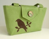 Wayfarer Purse - Bird Applique - Handmade Bag - Kiwi Green Faux Suede - Vegan