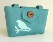 Wayfarer Purse - Bird Applique Bag - Teal Faux Suede - Vegan