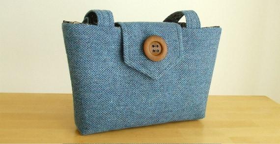 SALE Harris Tweed Purse in Coastal Blue - One of a Kind Bag