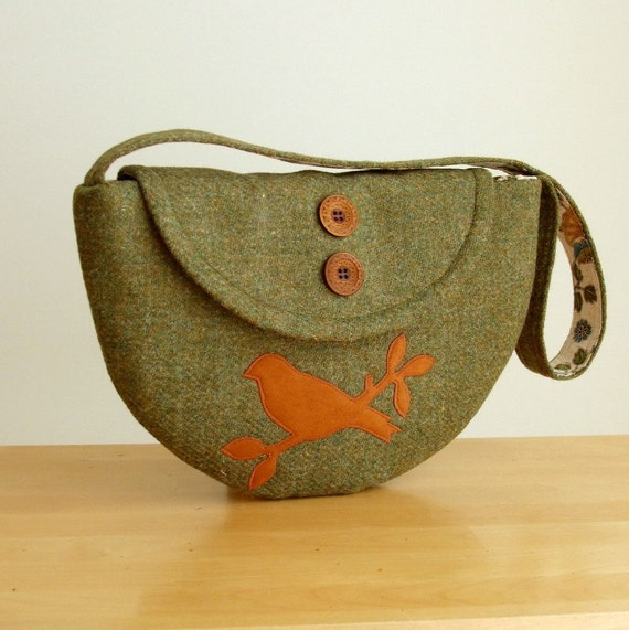 SALE Harris Tweed Purse Semi-Circle Design with Bird Applique - One of a Kind Bag