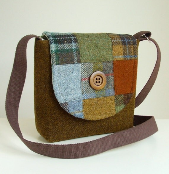 Harris Tweed Bag - Cross Body Satchel - Patchwork - One of a Kind - Check, Plaid