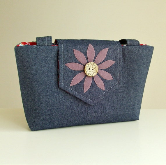 ON SALE The Wayfarer Purse in Denim with a Handmade Flower Applique