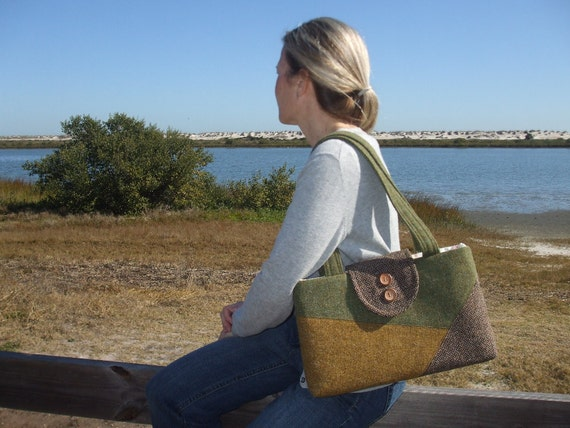 Harris Tweed Bag - Colorblock Collection- One of a Kind Purse